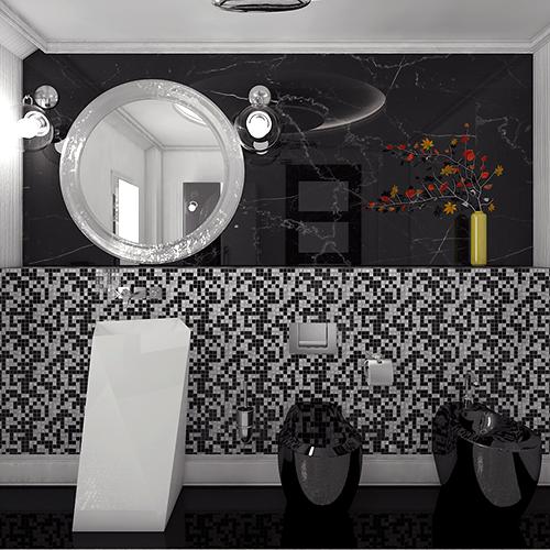 design interior baie alb negru