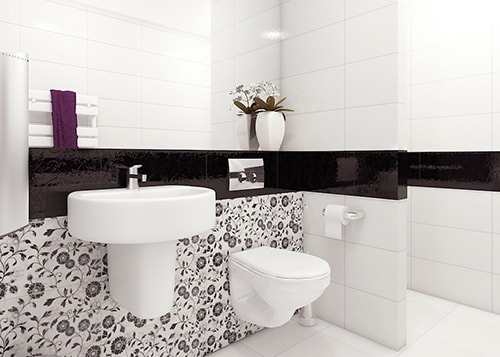 black & white bathroom interior design